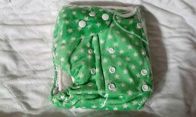 One Size Minky pocket  cloth diaper w/insert - Green w/Starss