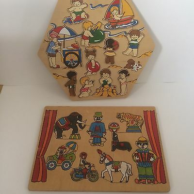 Vintage retro wooden puzzle bundle board lift out peg Board Circus Beach Theme