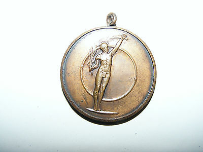"""Bronze  Swimming  Medal  Engraved  Sgt.  Read  Captain  July  1948  1.1/4""""  Dia."""