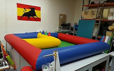 inflatable soft play surround with air jugglers and ball pool bouncy castle