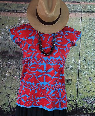 Red & Blue Hand Embroidery Huipil Jalapa Oaxaca Mexico Hippie Boho Fiesta Frida