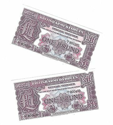 Military Voucher £1.00 One Pound 2nd Series 1948 to 1955 Gem UNC Consecutive #