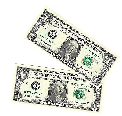 USA $1.00 One Dollar 'Star' Replacement Note 2003A Gem UNC Consecutive #