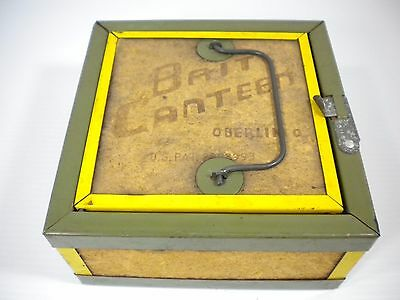 """Vintage Oberlin Bait Canteen Worm Bait Box 7"""" X 7"""" X 6"""" - Fast Free Shipping!"""