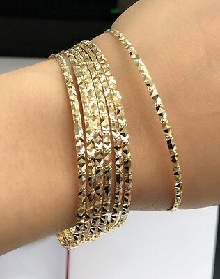 "18k Solid Yellow Gold 7 Pieces Set Flat Bangle Diamond Cut. 2.45"" =62mm, 30.29Gr"