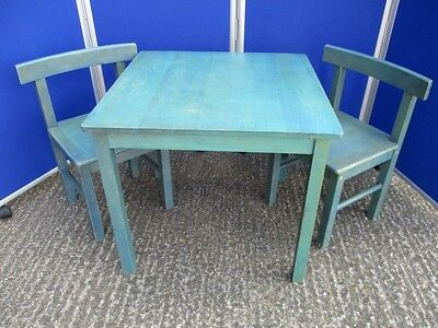 Children's Table & 2 Chairs - SORK 1995 - Vintage IKEA - Green / Blue