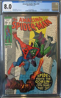 AMAZING SPIDERMAN #97, CGC 8.0, DRUG Story not APPROVED! CLASSIC STAN LEE Story!