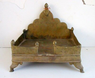 1850's Antique Old Brass Hand Carved Holy Worship God Sitting Stand Sinhasan