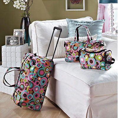 Kids Luggage Sets For Girls Women Teens Toiletry Tote Rolling Duffle Bag Fabric