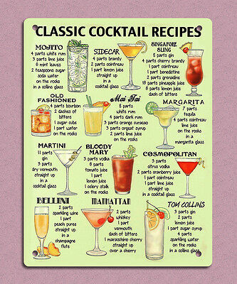 metal sign plaque vintage retro style cocktail recipes bar drinks tin 20 x 15cm