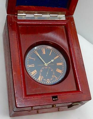 Extremely rare antique Ulysse Nardin Marine CHRONOMETER Deck Clock in wooden box