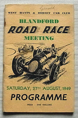 BLANDFORD 27 Aug 1949 ROAD RACE MEETING Official Programme