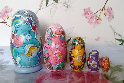 Russian Doll Care Bears Vintage Retro Cute Hand Painted Originals!!