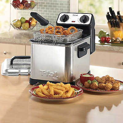 New T-fal Stainless Steel Electric 3-Liter Best Home Kitchen Deep Fat Fryer Fast