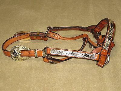 LIGHT USE~Flashy SILVER ROYAL Light Oil Western Show Halter w/AZTEC STYLE SILVER