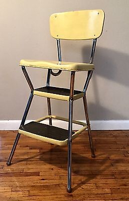 Vintage Cosco Stylaire Step Stool Chair Yellow & Chrome Flip Up Seat Mid Century