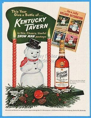 1953 Glenmore Distillery Louisville Kentucky Tavern Whiskey Snowman Package Ad