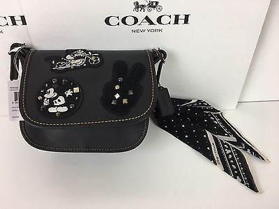 Nwt Disney X Coach Patricia Saddle 18 Glove Calf Leather Mickey Patches F59355