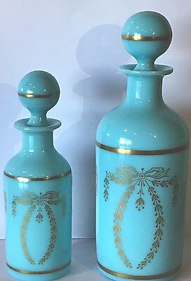 2 Antique French PV Porteieux Vallerysthal Blue Opaline Glass Perfume Bottles