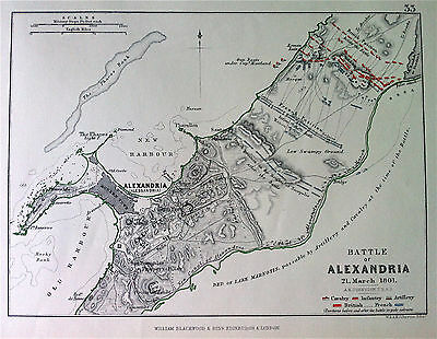 Map Battle Plan of ALEXANDRIA 1801 Napoleonic Wars engraved by JOHNSTON 1875