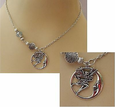 Silver Fairy Moon Pendant Necklace Jewelry Handmade NEW Chain Adjustable