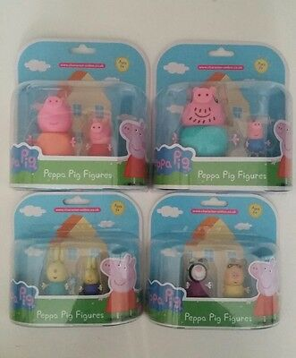 rare peppa pig figures, richard rabbit, pedro pony, mummy pig, daddy pig. BNIP