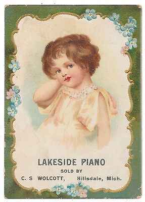 Ellen Clapsaddle Little Girl Vogueing on Trade Card for Lakeside Pianos Chicago