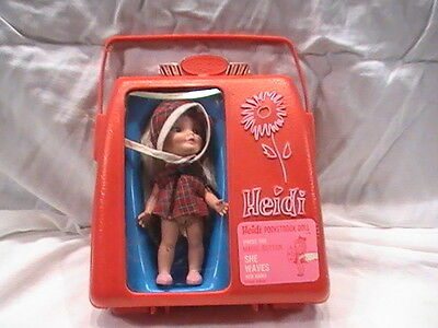 Vintage 1965 Remco Heidi Pocketbook Doll Red Case magic button (not working)