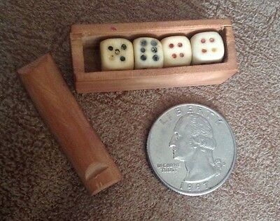 Antique Miniature Bone Dice Set in Wood Box. Completely Hand Carved Rare