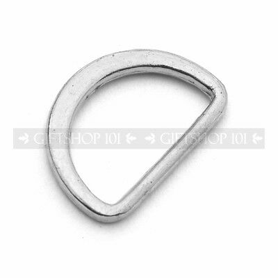 """10X Silver Plated D-Shaped Ring Buckles 0.5"""" Metal D-Ring Bag Strap Adjustments"""