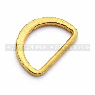 """10X Gold Coated Metal 0.5"""" Inch D-Rings Adjustable Jewerly, Strap Buckles"""