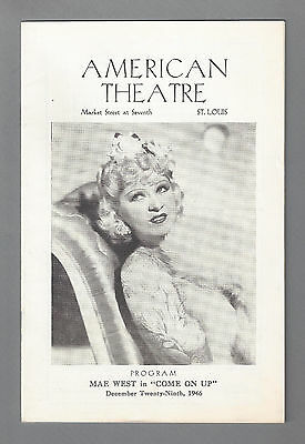 "Mae West ""COME ON UP"" George Spelvin / Tod Andrews 1946 St. Louis Tryout Program"