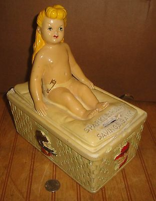 Rare 1940's Dick Tracy God Daughter SPARKLE PLENTY Chalkware Savings Bank as is