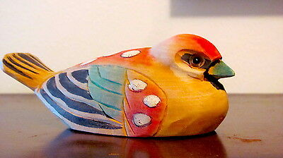 Sweet Carved Wood Bird Ornament Hand Painted Origins Unknown