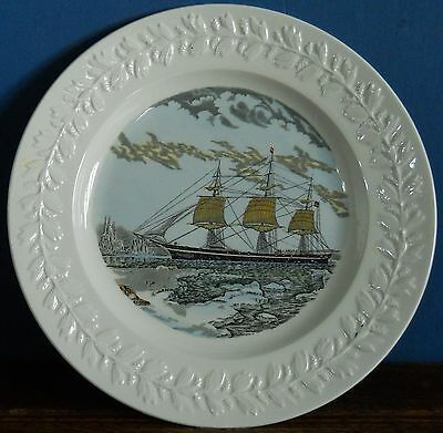 """Vintage Adams Ironstone collectors plate Clipper ship """"Red Jacket""""  N Currier NY"""