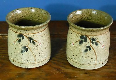 A pair of studio pottery mugs Scottish stoneware painted flowers Crathes Pottery
