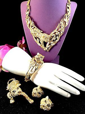 1991 Trifari Crystal Rhinestone Tiger Necklace Bracelet Brooch Earrings Parure