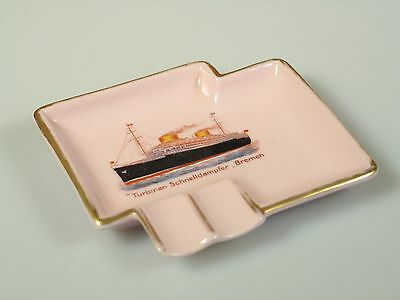 North German Lloyd Ts Bremen Art Deco Pink Porcelain Ashtray 16833