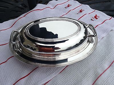 """Vintage oval silver serving tray with cover very nice 12"""" x 9"""""""