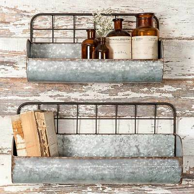 Set of 2 Wire Back Wall Planters Rustic Primitive Organizer Holder Farmhouse