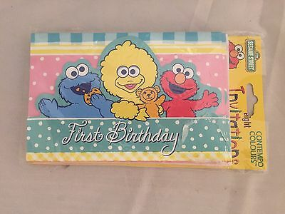 Vintage SESAME STREET ELMO INVITATIONS (8) ~ 1st Birthday Party Card