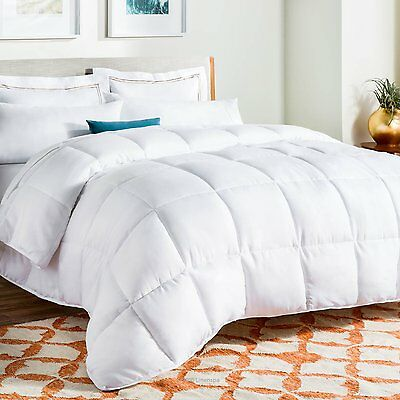 White Goose Down Alternative Quilted Comforter with Corner Duvet Tabs