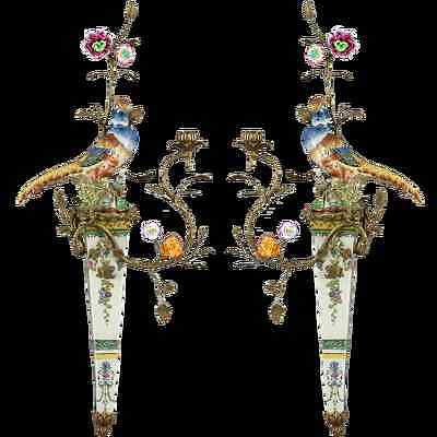 Stunning Pair of Bronze Ormolu Aviary Wall Sconces Candle Holders,30''H.