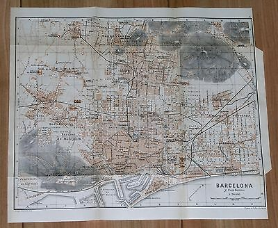 1913 Original Antique City Map Of Barcelona / Catalonia / Spain