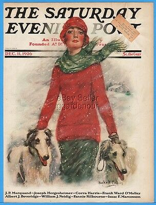 1926 Saturday Evening Post Lady Borzoi Hound Dog Snow December 11 Cover Only