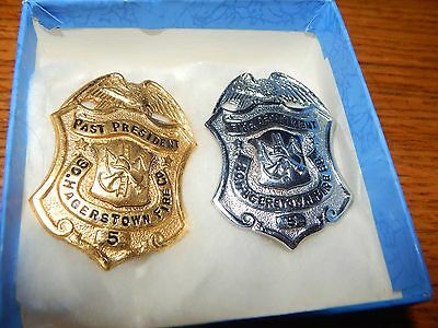 Antique Obsolete Set Of 2 South Hagerstown Md  Fire Department  Badges