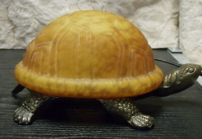 """Metal & Textured Thick Glass Shell Turtle Lamp Light Switch on Cord 5"""" h x 9"""" w"""