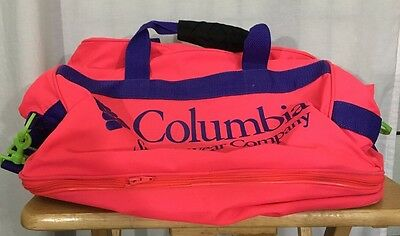 Columbia Duffle Bag Pink Green And Purple With Lower Compartments
