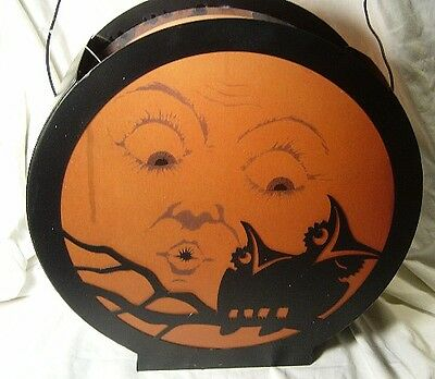 Bethany Lowe Halloween  Vintage style Moon with Owl Lantern with Light