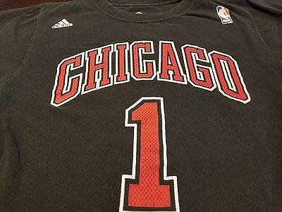 a0b8d1b550b CHICAGO BULLS ADIDAS T Shirt ADIDAS Sz SMALL S Black DERRICK ROSE #1 NBA